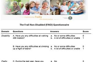 Frailty non-disabled questionnaire for elderly care