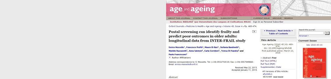Postal screening can identify frailty<br> and predict poor outcomes <br>in older adults: